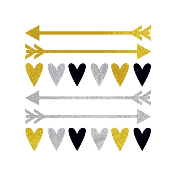 Gold and Silver Hearts and Arrows Temporary Tattoos