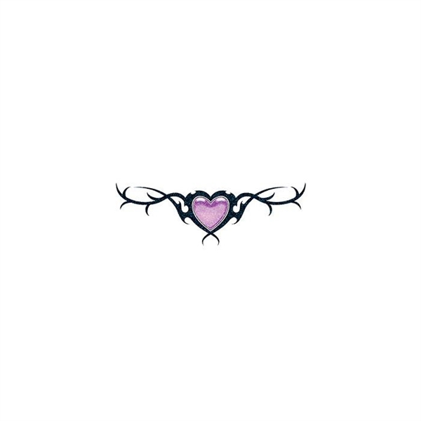 Glitter Purple Heart and Barbed Wire Temporary Tattoo