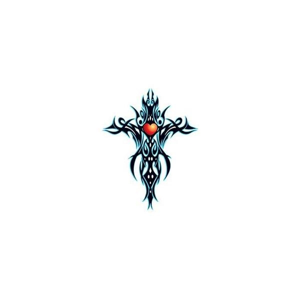 Tribal Blue Cross Temporary Tattoo