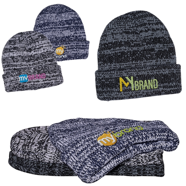 Heathered/Marbled Knit Beanie with Cuff