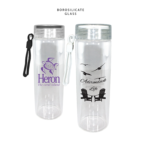 20 oz. Durable Clear Glass Bottle with Screw on Lid