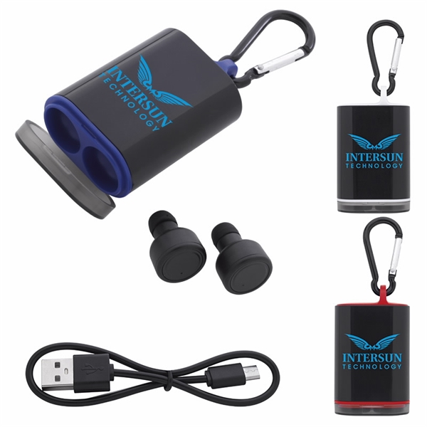 Good Value® WS Earbuds with Charging Case and Carabiner