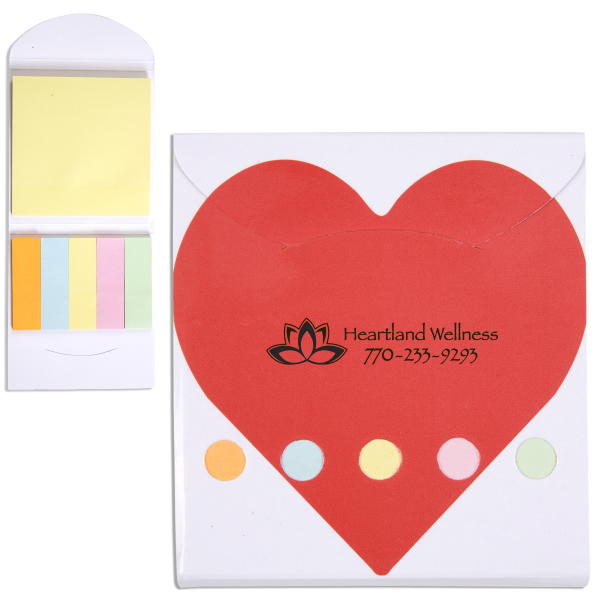 Pocket Sticky Note Memo Book - Heart