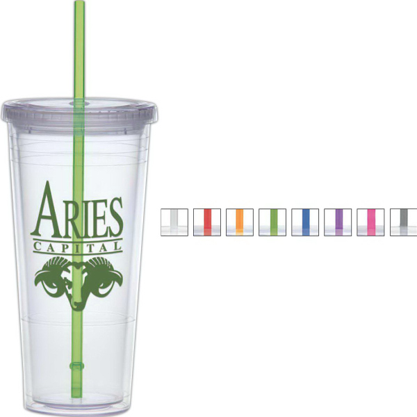 24 oz Carnival Cup with Color Straw, Clear Lid