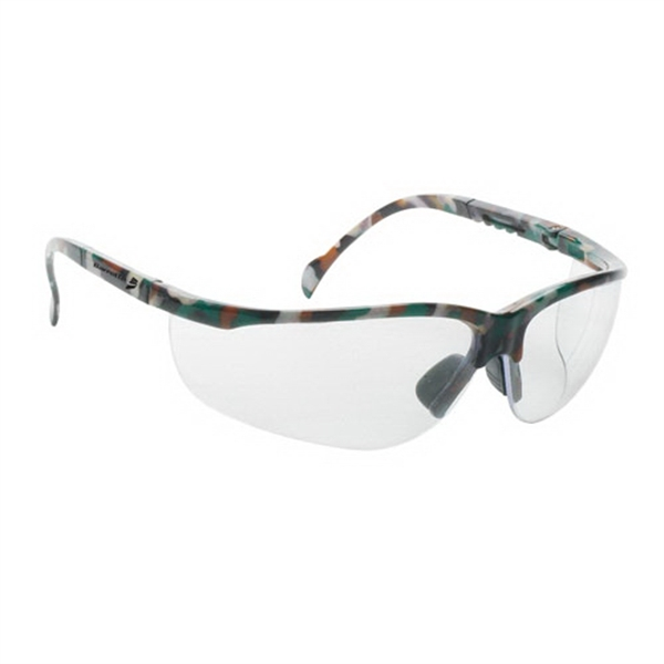 Wrap around safety glasses with clear lens