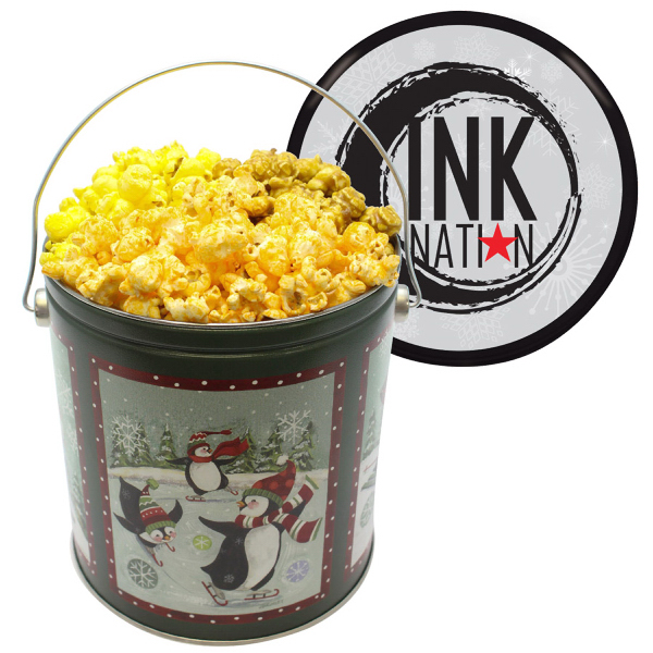 one gallon popcorn tin with butter cheese caramel popcorn