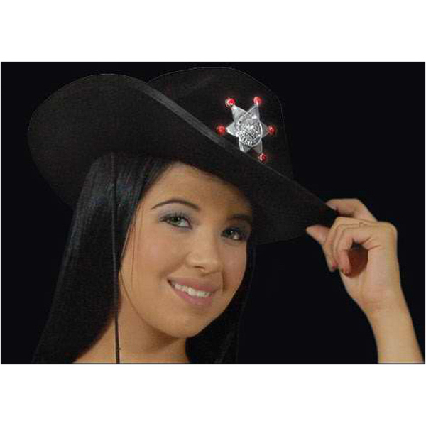 7496feb4515ef Light up black cowboy hat with Sheriff s star