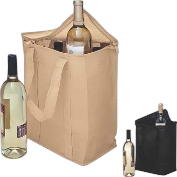 Vino Sack (TM), Zip-up Six Bottle Bag, Velcro (R) Handles