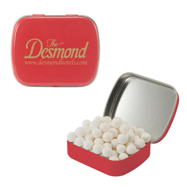 Red Mint Tin with Signature Peppermints - Breath mints