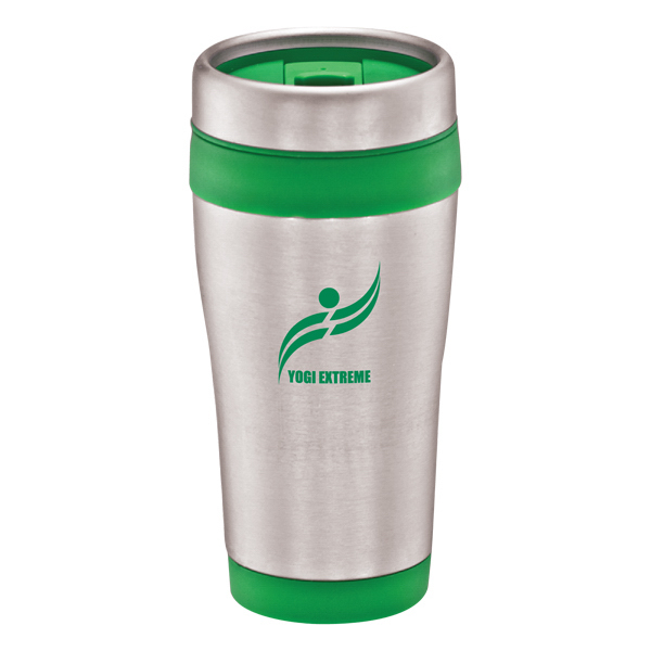 Stainless steel travel mug with color bands - 16 oz