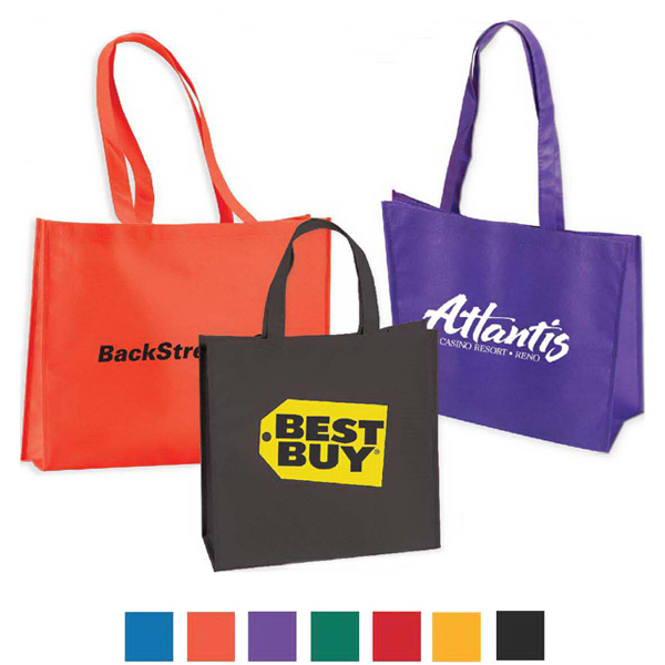 """Large Non Woven Tote wit 18"""" Straps- Full Color"""