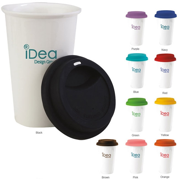 Double Wall Ceramic Tumbler with Lid - 11 oz