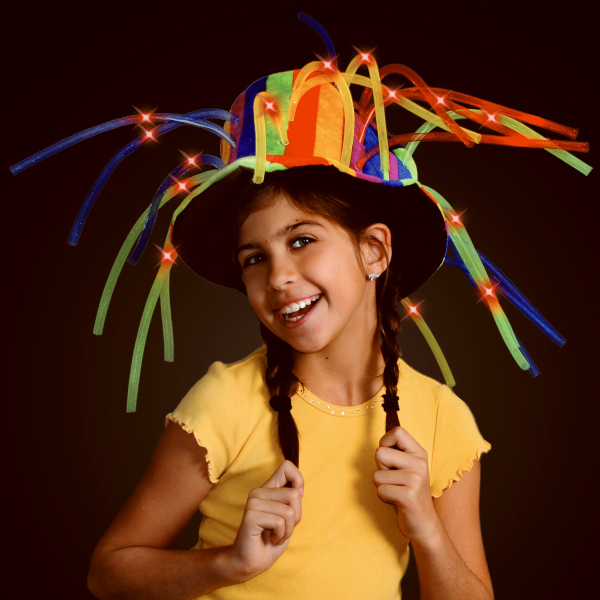 Funny clown top hat with lights and noodle hair