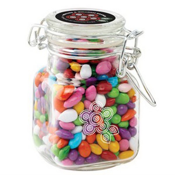 Glass Hinge Top Jar / Chocolate Covered Sunflower Seeds