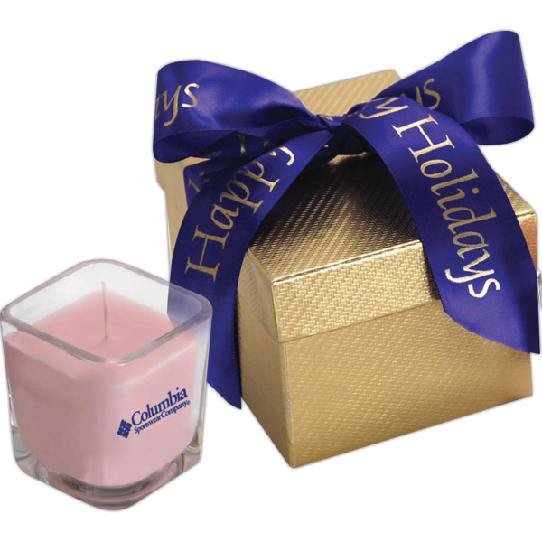 Gold gift box with 4.5 oz candle and ribbon