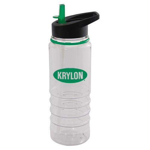 25 oz clear Tritan water bottle with colored ring and straw