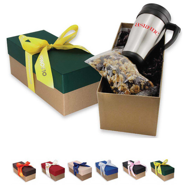 travel mug and snack gift box with ribbon goimprints