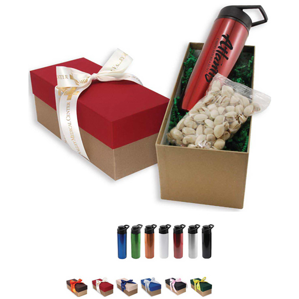 Aluminum Bottle and Snack Gift Box with Ribbon