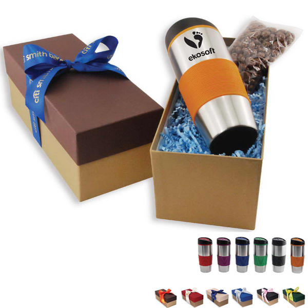 Stainless Tumbler and Snack Gift Box with Ribbon
