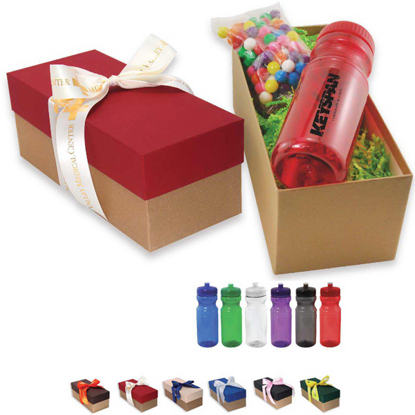 Sport Bottle and Snack Gift Box with Ribbon