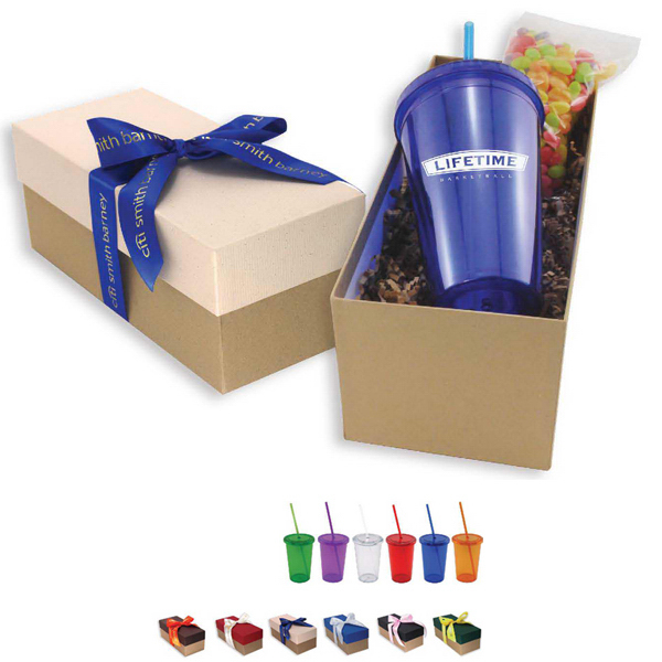 Acrylic Tumbler and Snack Gift Box with Ribbon