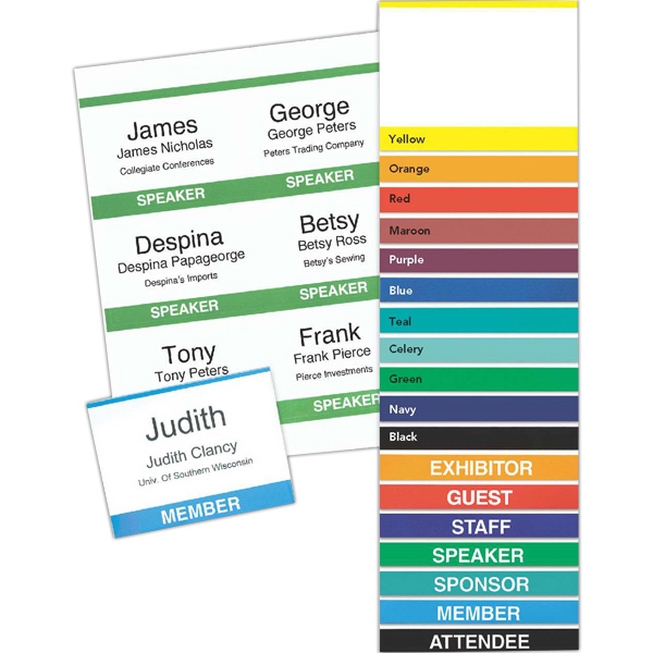 4 x 3 standard title and color bar paper name badge insert