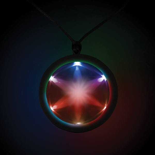 "Tri Color 2 1/4"" Fusion Light Up Glow LED Badge with Necklac"