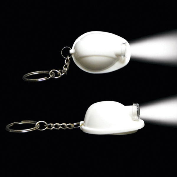 White Safety Helmet Flashlight Light Up Glow LED Keychain