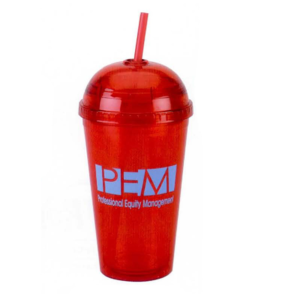 16 oz. Double Wall Acrylic Cup with Straw