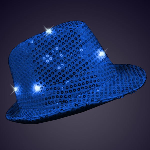 Sequin Blue Fedora Hat with Blinking LED s b121b741853