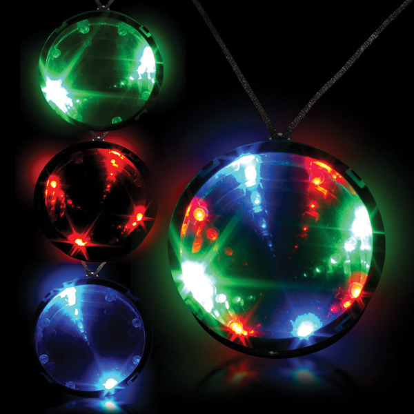 "Tri Color 2 3/4"" Infinity Glow Badge with Necklace"