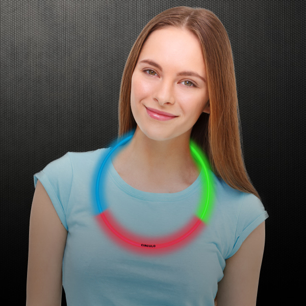 "Red Green & Blue 22"" Superior Triple Color Glow Necklace"