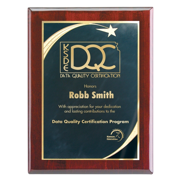 "Wall Plaque with Star Achievement Plate, 8"" x 10"""