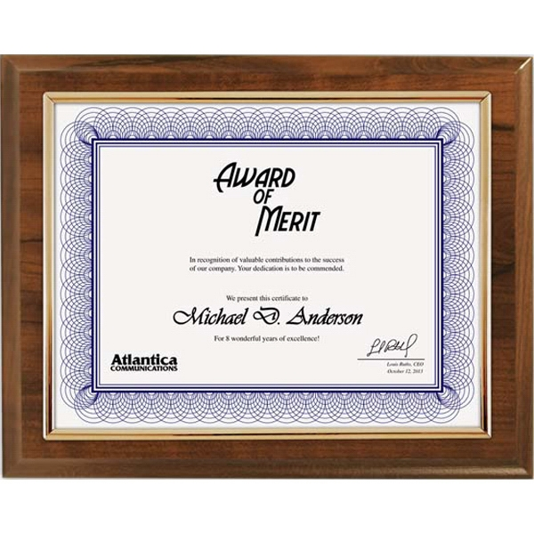 Cherry Certificate Plaque with Gold Frame - GOimprints