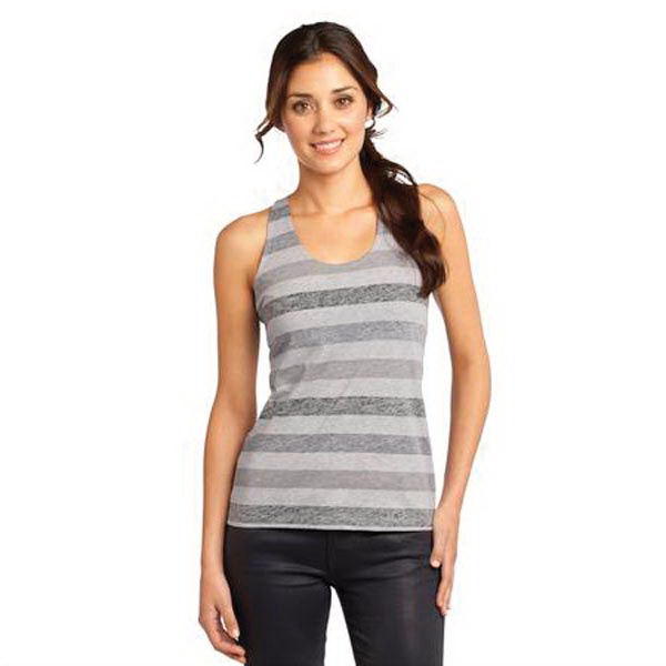 District (R) Juniors Reverse Striped Scrunched Back Tank