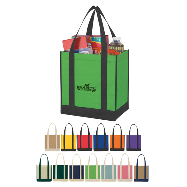 Discount Custom Non-Woven Two-Tone Shopper Tote Bag