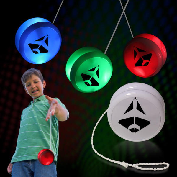 "2"" White Plastic Light Up YoYo with Green glow LEDs"