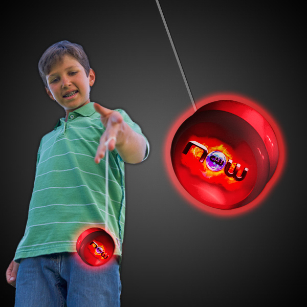 "2"" White Plastic Light Up YoYo with Red LEDs"