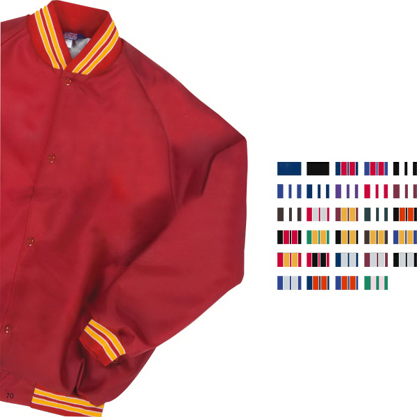 Youth Satin Baseball Jacket/Striped Trim - GOimprints
