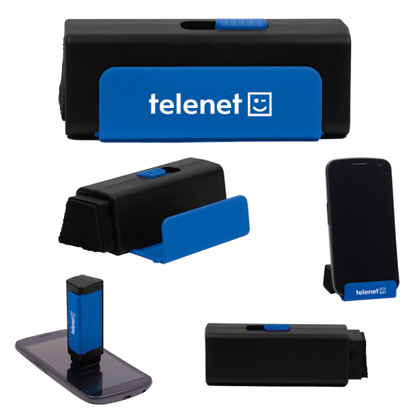 Mobile Phone Holder With Retractable Screen Cleaner