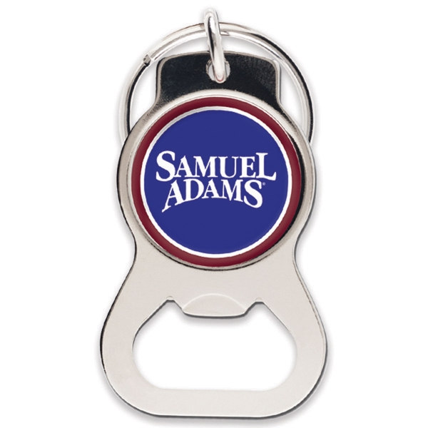 Silver Round Bottle Opener Key Ring