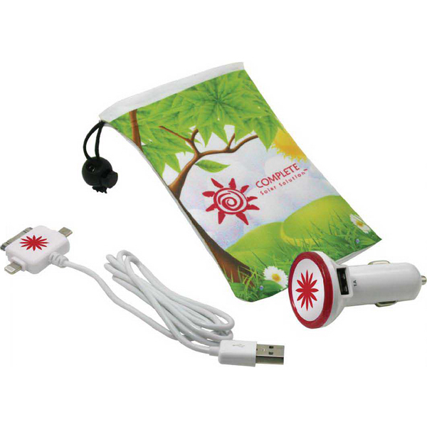 Microfiber Drawstring bag with USB car adapter & cord
